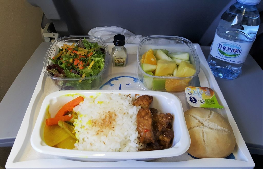 Around the world in 15 airline meals vegan meal on KLM premium economy frugal first class travel