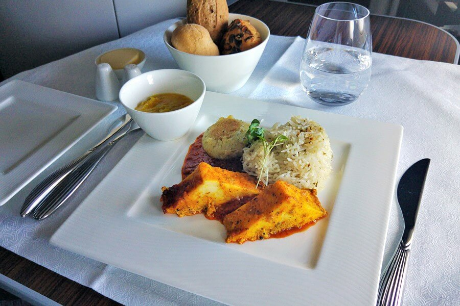 Around the world in 15 airline meals Qatar Airways Business Class vegetarian meal frugal first class travel