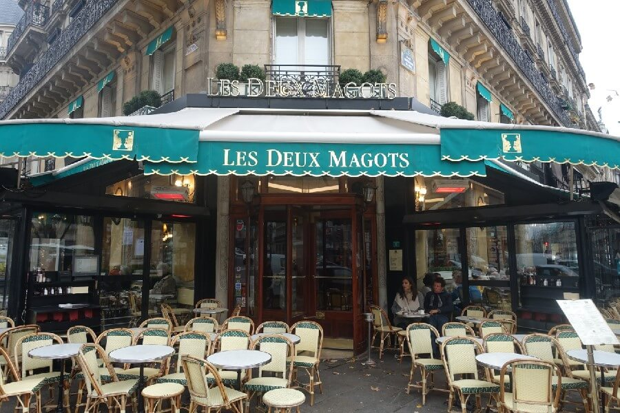 Entrance to Les Deux Magots in Paris The best area to stay in Paris: a guide to the best arrondisements to stay in Paris