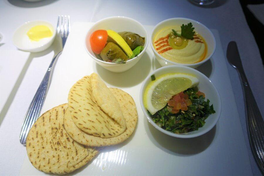 Qatar Airways Business Class food Qatar Airways Business Class mezze plate Qatar Airways Business Class Review