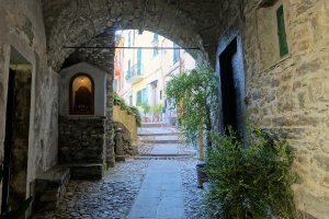 streets in Pigna Liguria Italy