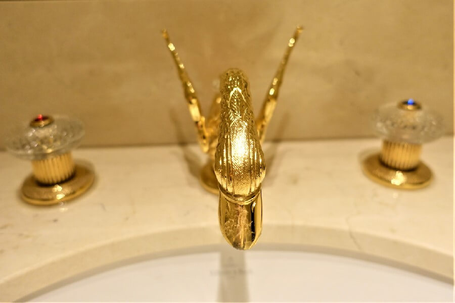 gold taps gold faucet in the Ritz Hotel Paris
