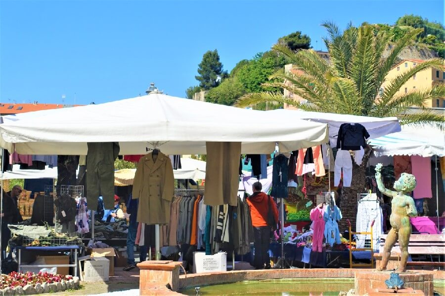 Clothing stalls at Ventimiglia market best market on the Riviera