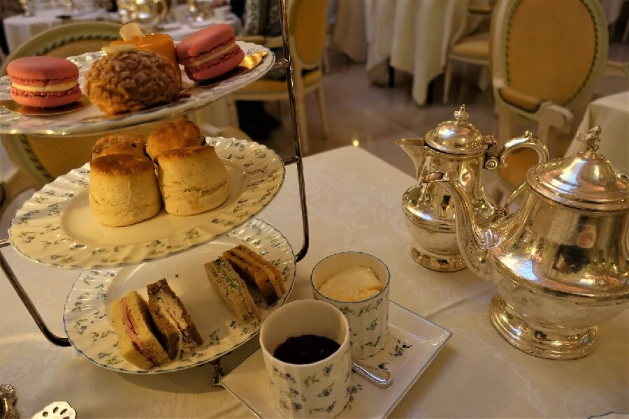 Ritz London afternoon tea, three tiered cake stand at Ritz London afternoon tea