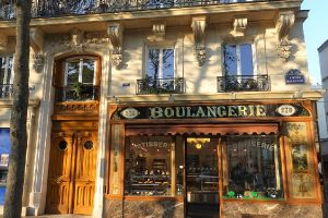 exterior of traditional French boulangerie in Paris France