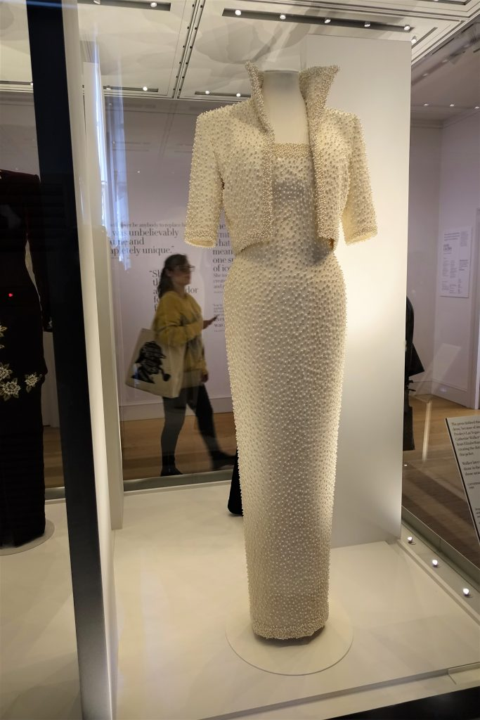 White beaded evening dress and jacket worn by Princess Diana