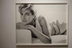 Black and white portrait Princess Diana wearing white dress