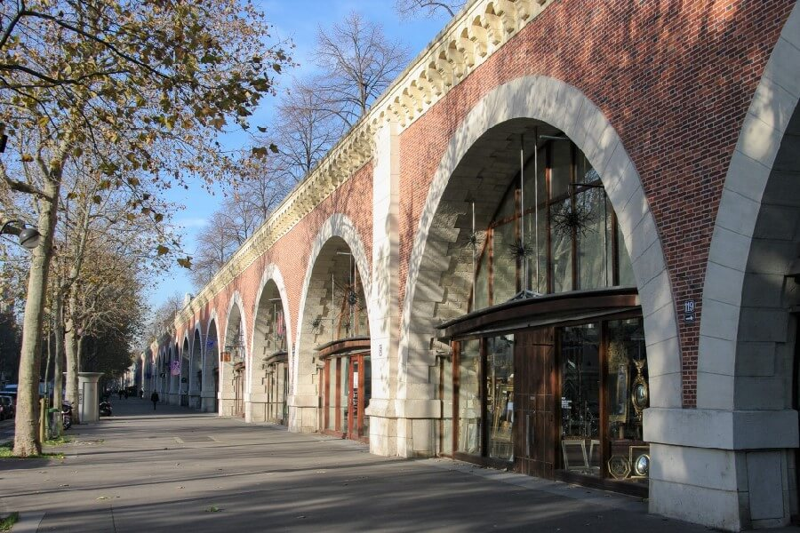 Shops under aquaduct Avenue Daumesnil Paris