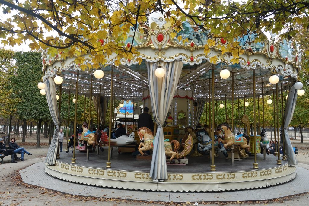 carousel in the Tuileries Gardens Paris, merrygoround, Tuileries garden Paris