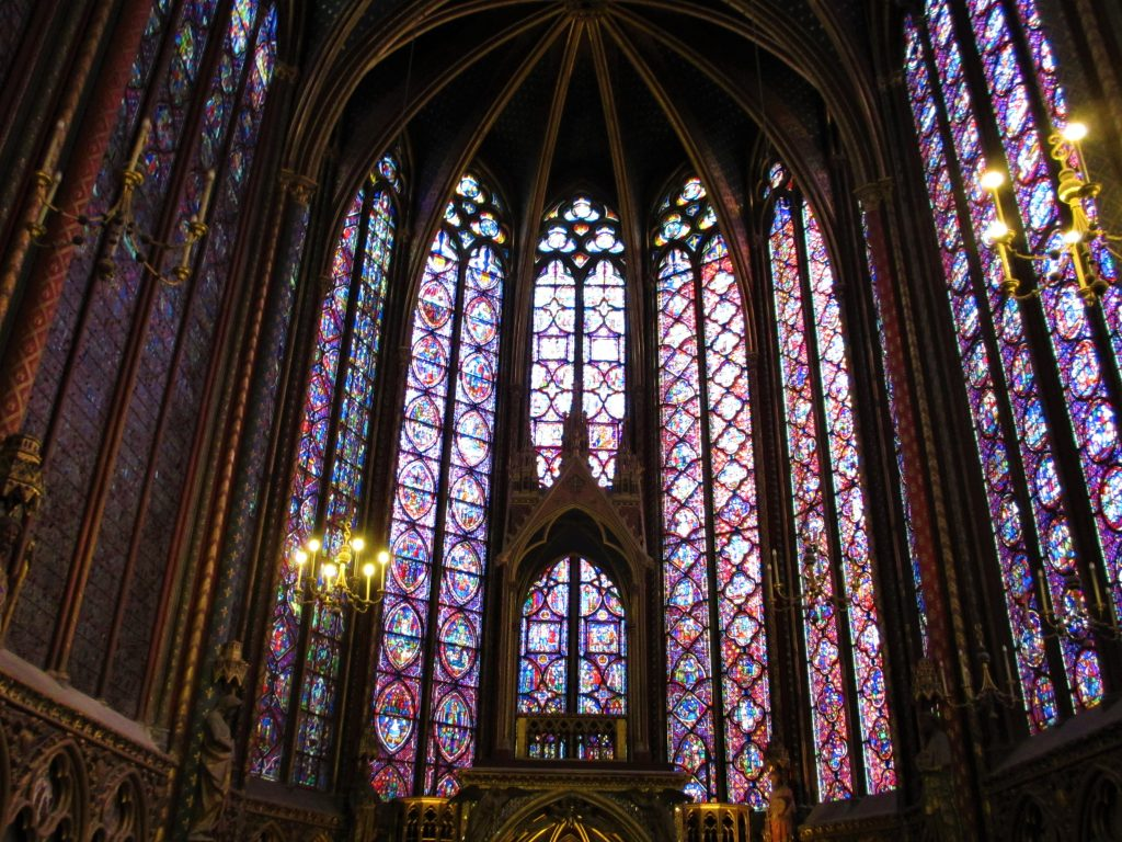 stained glass window Sainte Chapelle Paris, gothic stained glass window, interior Ste Chapelle Paris