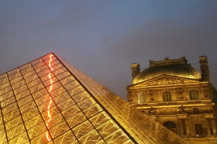 the Louvre Paris at dusk, Louvre pyramid, the Louvre Paris