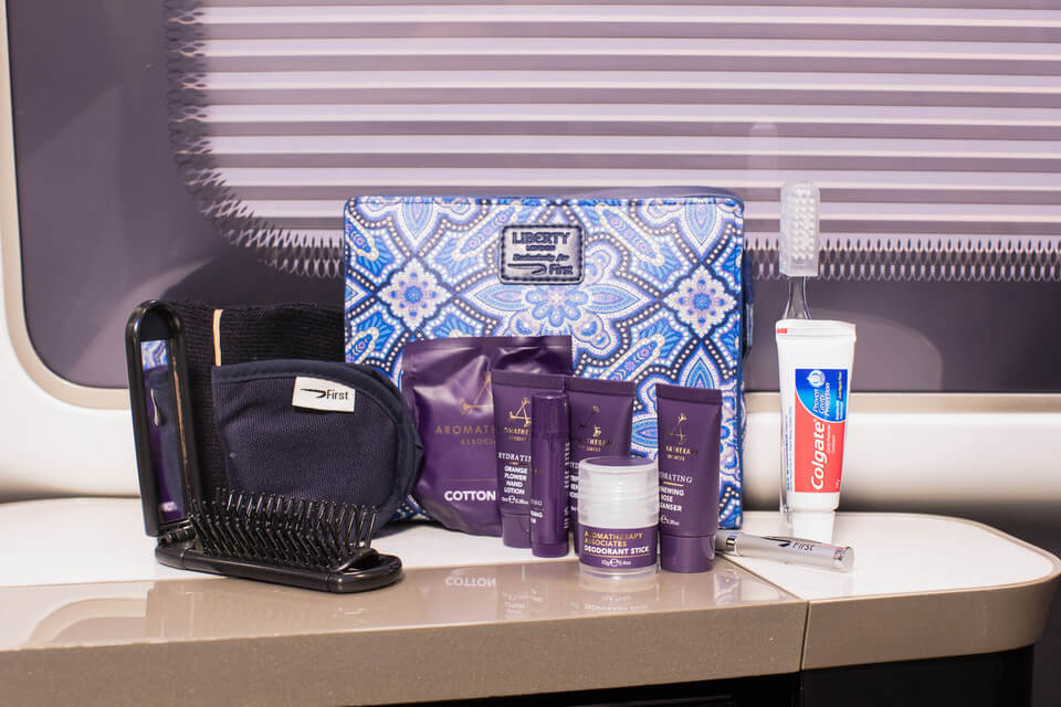 British Airways First Class Review: British Airways 787 Dreamliner Review British Airways First Class amenities kit, British Airways Ladies amenities kit First Class