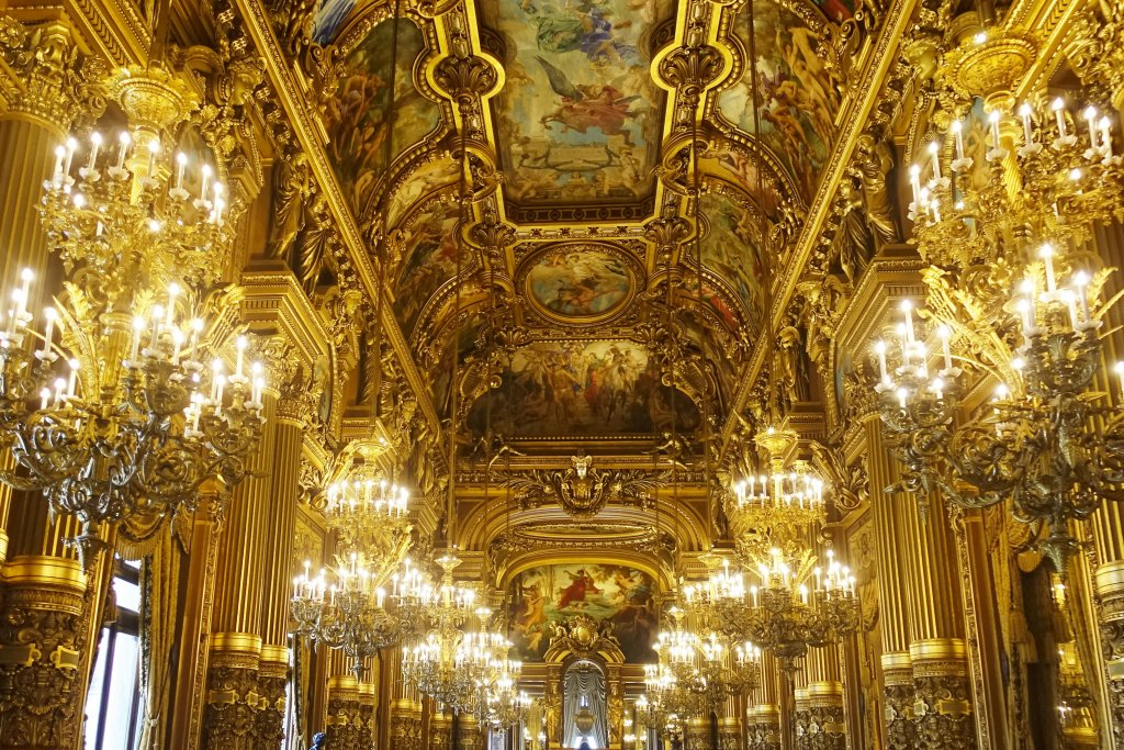 Ceiling and interior of the Opera Garnier Paris