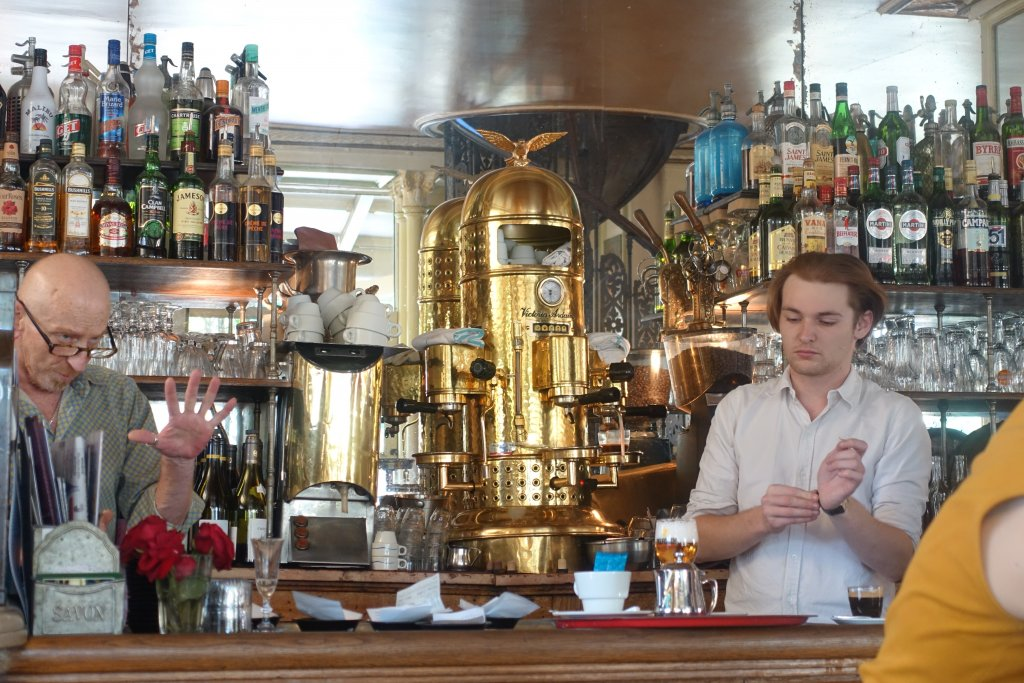 Paris itineraries: one week in Paris for $1000 Old fashioned coffee machine in Paris cafe