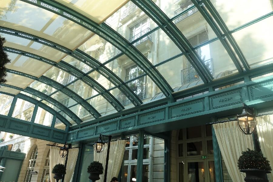 Glass terrace at the Ritz Hotel Paris