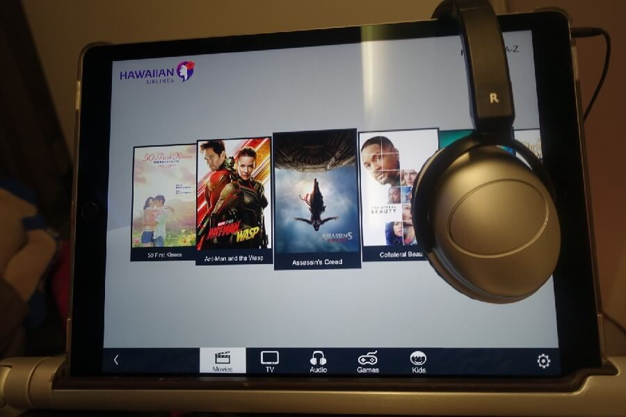 Hawaiian Airlines Business Class entertainment system