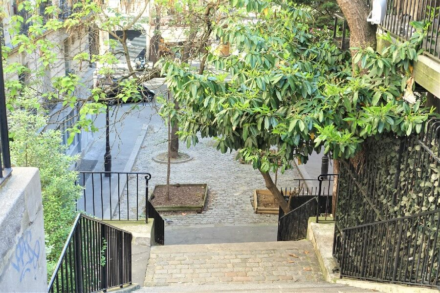 Square and stairway in Montmartre Paris France