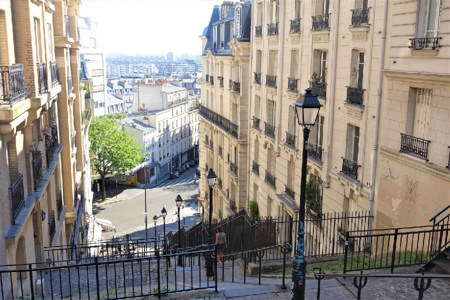 view at the top of a street in Montmartre Paris