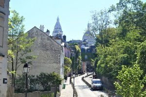 distant view of Sacre Coeur Paris France