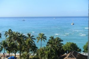 Waikiki beach view from Hyatt Regency Waikiki Hotel