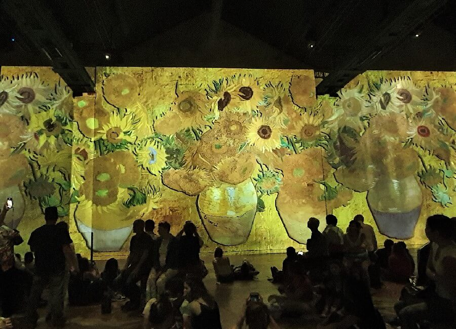 Vincent Van Gogh sunflowers at Ateliers des Lumieres exhibition Paris 2019