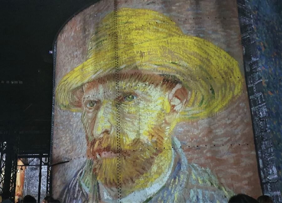 Self portrait of Vincent Van Gogh at Ateliers des Lumieres 2019 exhibition