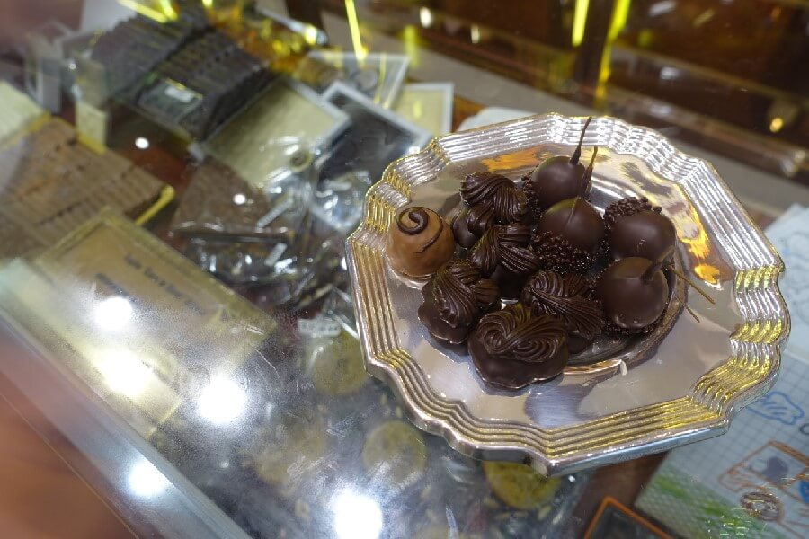 Silver tray of chocolates in Barcelona