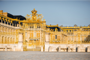 Golden entrance gates Chateau of Versailles France Palace of Versailles gates and entrance