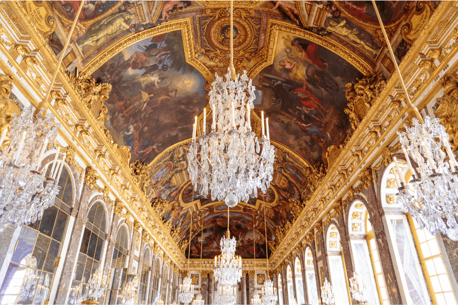 Ceiling and chandeliers Hall of Mirrors Palace of Versailles Chateau de Versailles France