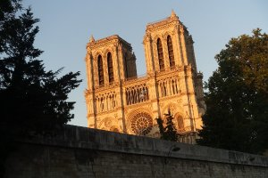 Notre Dame Cathedral Paris facade in the early evening