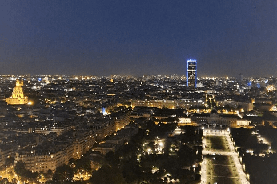 View of Paris from the Eiffel Tower at night