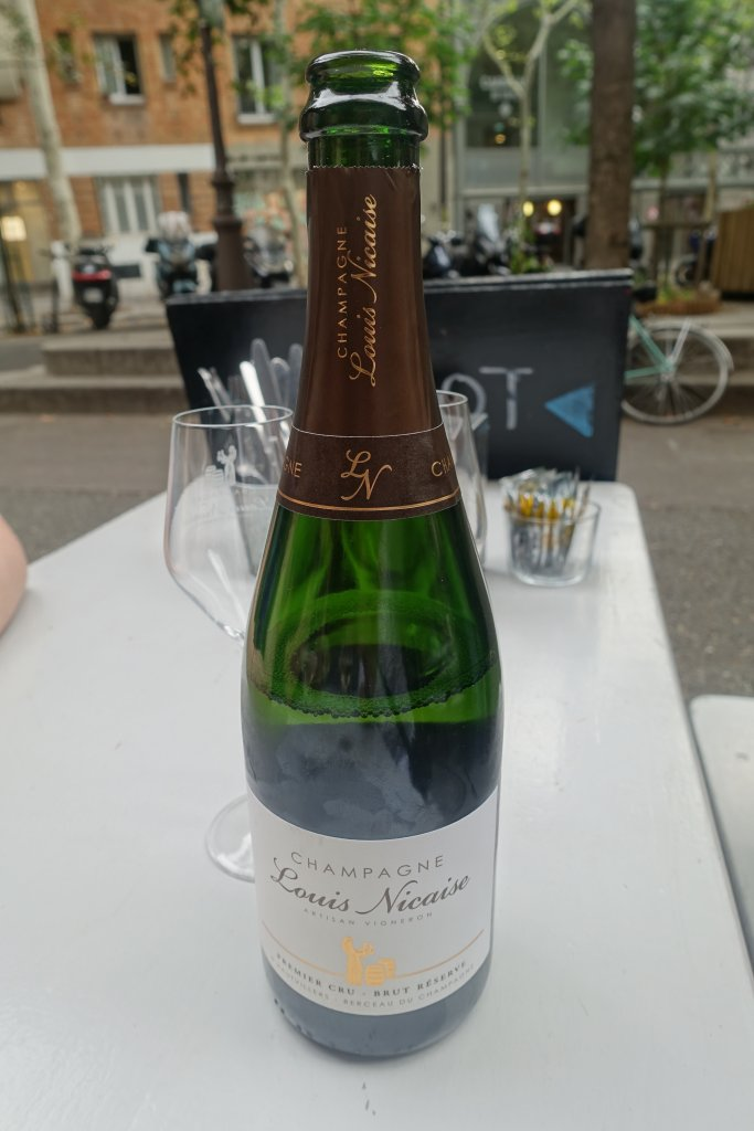 Bottle of Champagne in Paris cafe