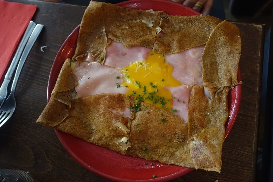 Ham and cheese crepe in the Marais, Paris France