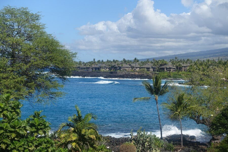 view of the sea from the Sheraton Kona resort