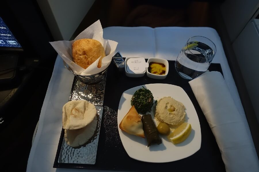Plate of Arabic mezze Etihad Business Class