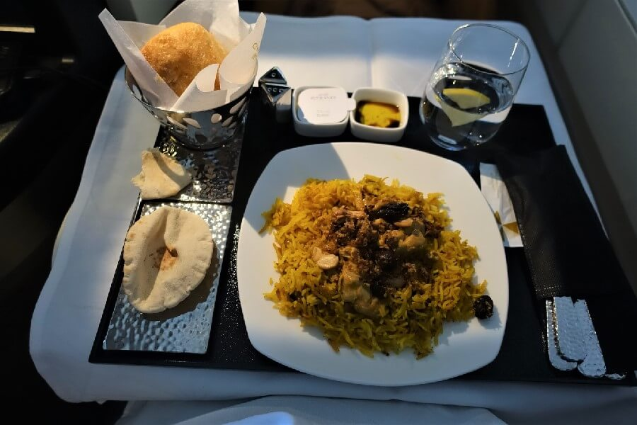 Chicken biriyani Etihad Business Class