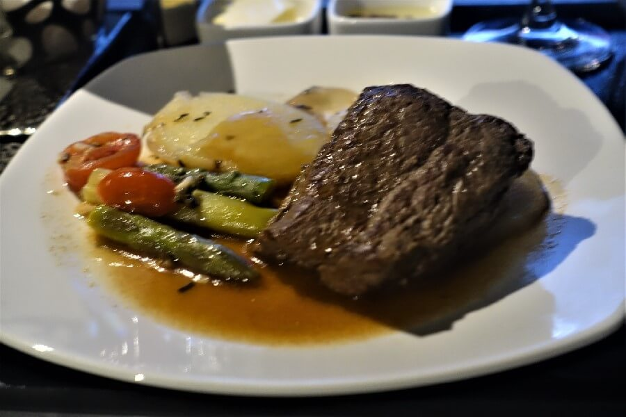 Beef tenderloin Etihad Business Class meal