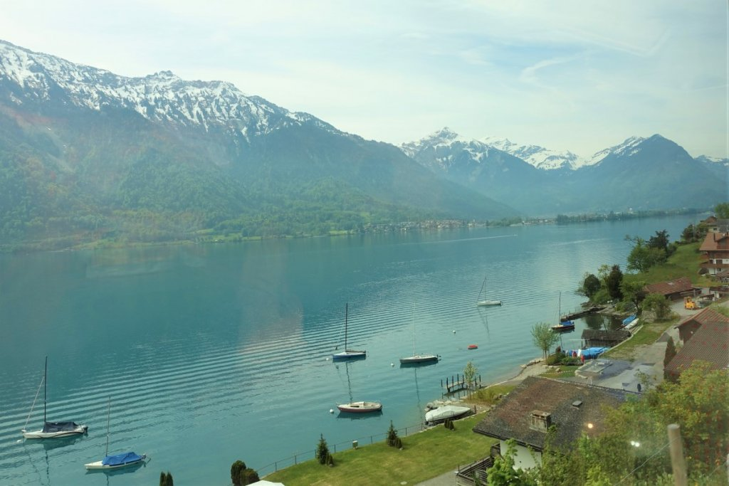 Lake at Interlaken Switzerland with snow capped mountains