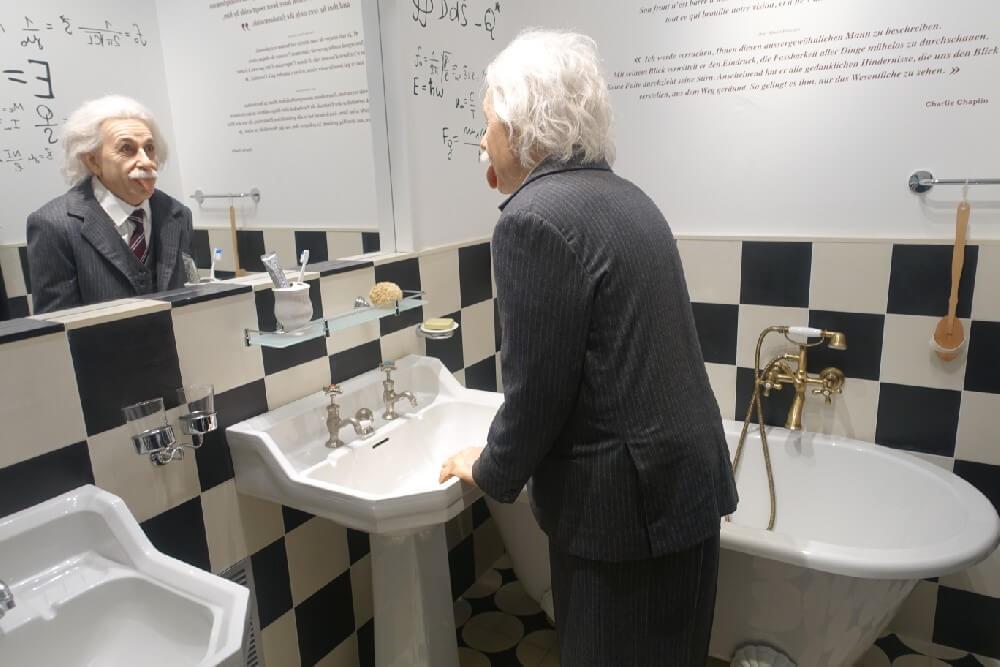 Albert Einstein in the Chaplin Museum Switzerland