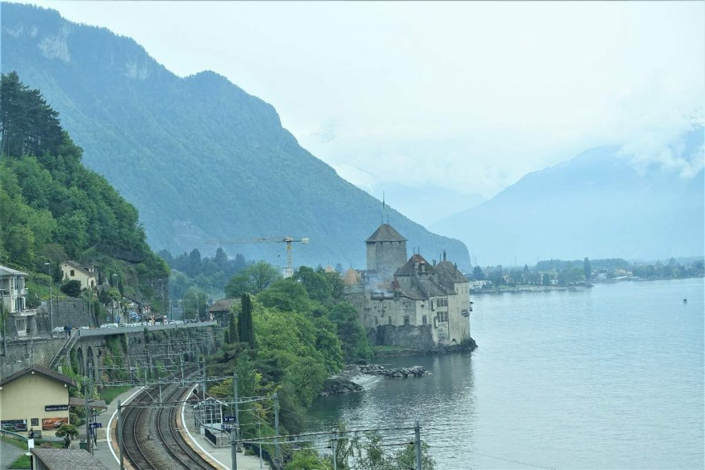 view of Chateau de Chillon, Montreux Switzerland. Chateau on the banks of Lake Geneva