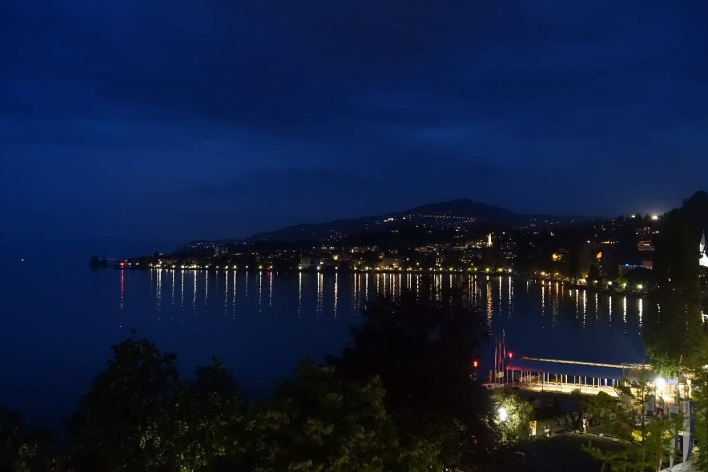 View of Lake Geneva at night from Montreux