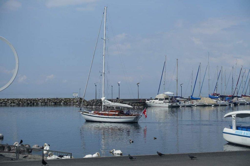 Yachts on Lake Geneva at Lausanne