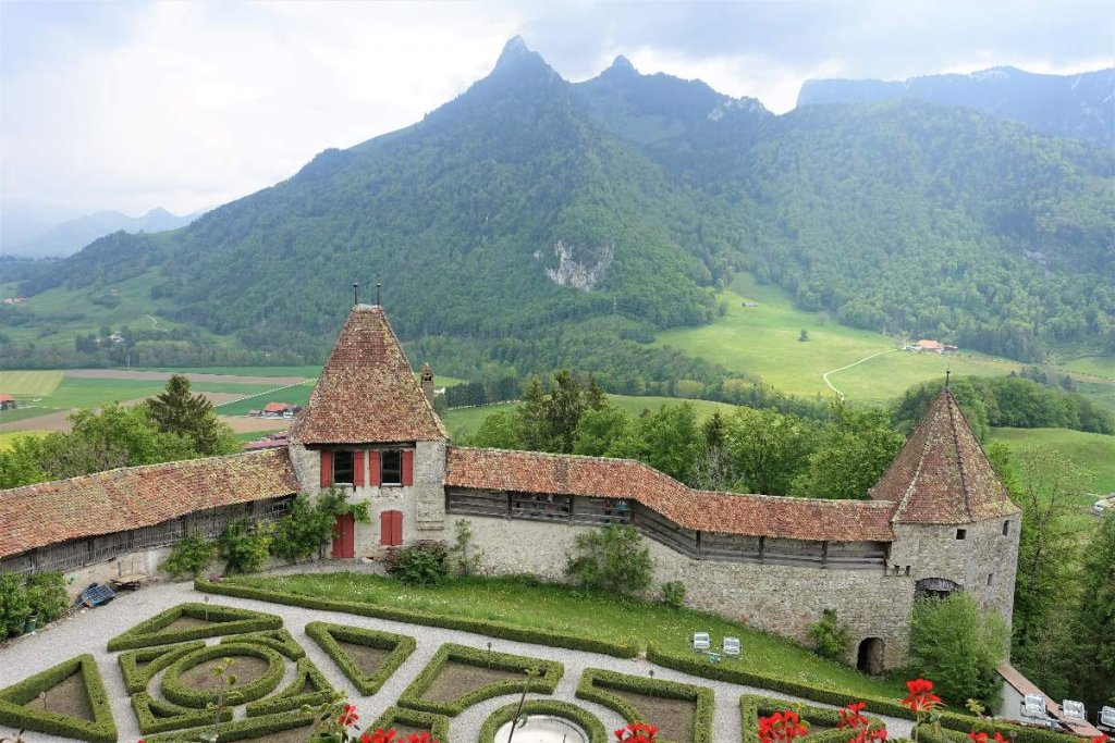 View of parterre garden from the Chateau in Gruyere Switzerland