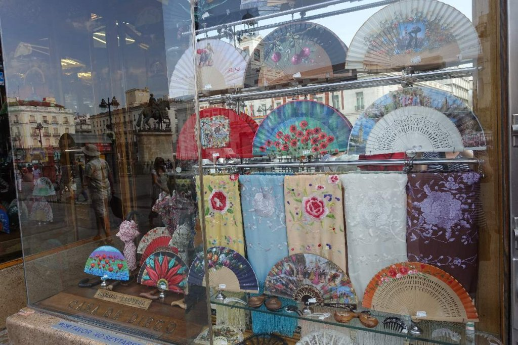 fans and shawls in a store in Madrid