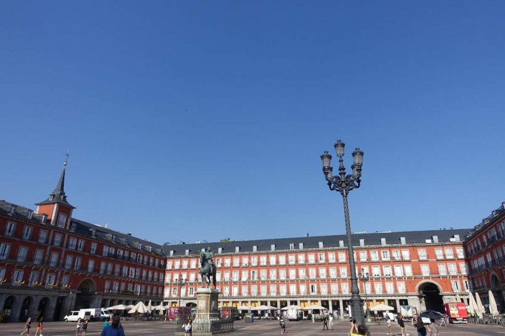 early morning view of the Plaza Mayor Madrid, famous squares in Madrid