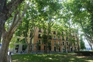 Area around Plaza de Oriente Madrid in summer shade